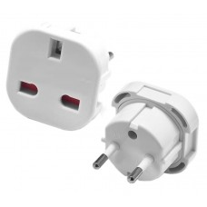 Power socket adapter UK England to Europe Schuko , Active SLIM, White
