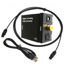 Digital to Analogue audio converter, Active, converter SPDIF Toslink to RCA and Jack 3.5mm, 5v power, black