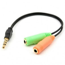 Adapter Cable Jack 3.5mm 4 pin male ( phone) to 2 x 3.5mm 3 pin femele (microfon +headphone/ speakers) - 20cm