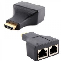 Extensie prelungire HDMI prin cablu retea RJ45, Active, prelungitor HDMI prin lan, HDMI tata la RJ45 mama, pentru monitor videoproiector, tv si alte dispozitive HD