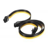 Cablu spliter alimentare placa video pci-e 8 pini tata la 2 x 6+2 pini tata, Active, pcie 6pini 8pini, 60cm + 20cm plat