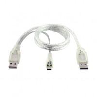 Cablu USB dual A (usb2 date + usb2 alimentare) la microUSB tata , Active