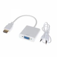 Adaptor HDMI tata (digital) la VGA mama (analog) + Audio, Active, suporta rezolutie full HD, convertor cu intrare hdmi ieșire vga și sunet