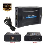 Adaptor BNC la HDMI, Active, Full HD, convertor bnc analog la hdmi digital cu mufa video si sunet audio mama, cablu alimentare USB 5V, compatibilitate: dvr camere supraveghere, cablu coaxial tv, televizor, monitor