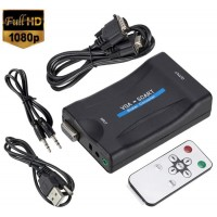 Adaptor VGA la Scart cu telecomanda, Active, Full HD, convertor analog, alimentare USB 5V, compatibil laptop pc tv dvd video