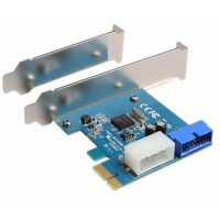 PCI-Express 1.X adapter to USB 3.0 19-pin housing, Active, 19-pin PCI, low profile bracket included
