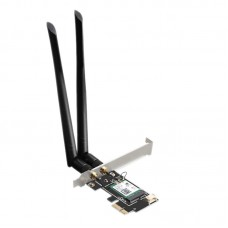 Internal PCI-E Wireless Network Board, Wifi6 3000Mb, Active TXA076, 2.4G + 5G, Detachable 2X 5Db Antenna, Chipset Intel AX200, low profile bracket optional, high quality