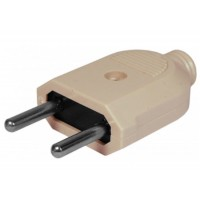 Plug male, Active, without ground, 250V / 10A current, 2 wires