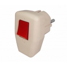 Plug male, Active, with switch and grounding, 250V / 10A / 16A current, 3 wires, on / off button