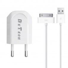 Charger and Data Cable for iPhone 2/3/4/g/s/ipad, Detech, 5V, 1A, 30 pins, white