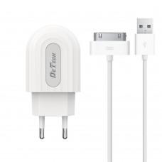 Incarcator si Cablu Date compatibil telefon iPhone 2,3,4,g,s,ipad, Detech, 5V, 2A, incarcare rapida, mufa 30 pin, alb