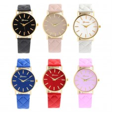 Women's watch Active Geneva various colors, analogue, ecological leather strap, golden dial, for girls, women, ladies
