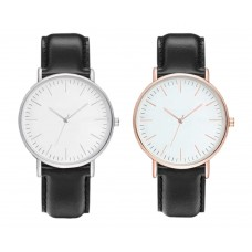 Unisex Watch  Active Slim Black  - Gold / Silver, analogue, adjustable strap of ecological leather, white dial, for women, men