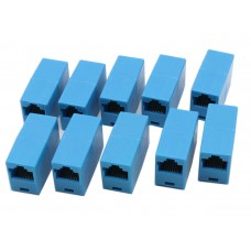 Set of 10 Adapter / Network Extension Plug UTP / FTP / RJ45 , Active, femele, blue