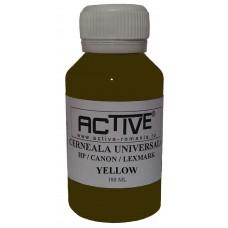 Cerneala refill Universala ACTIVE, 100 ml, Yellow / Galben, compatibila cu cartuse inkjet HP, Lexmark, Canon