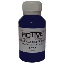 Universal Refill Ink  ACTIVE, 100 ml, CYAN - blue , compatible with HP, Lexmark and Canon ink cartridge
