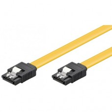 SATA3 Data Cable for hdd / ssd / dvd, ACTIVE , 30cm, metalic CLIPS, sata III 3, YELLOW